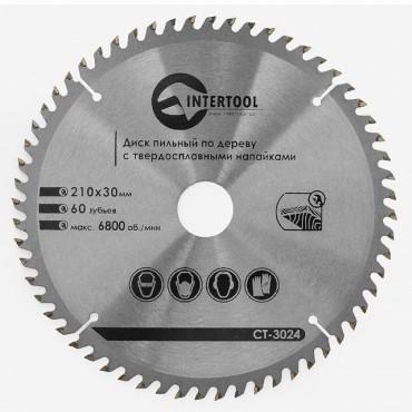 Диск пильный по дереву с твердосплавными напайками 210x30x1,5 мм; 60 зубьев INTERTOOL CT-3024