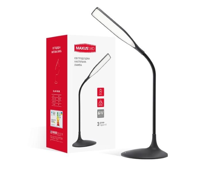LED светильник MAXUS DKL 6W 4100K BK яркий свет(1-DKL-002-01)