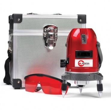 Уровень лазерный профессиональный, 5 лазерных головок, звуковая индикация INTERTOOL MT-3011
