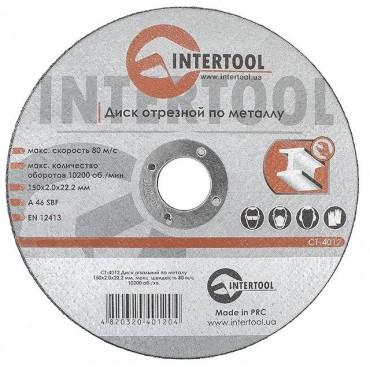 Диск отрезной по металлу 150x2,0x22,2 мм INTERTOOL CT-4012