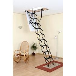Металлическая раздвижная чердачная лестница Oman Nozycowe Termo  (120x70) NT (металл/дерево)