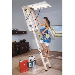 Деревянная трехсекционная чердачная лестница FAKRO LWK Komfort 120х70