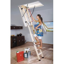 Деревянная трехсекционная чердачная лестница FAKRO LWK Komfort 130х70 (305 см.)
