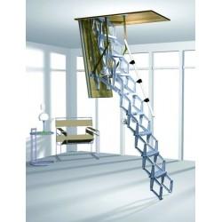 Алюминиевая раздвижная чердачная лестница  с дистанционным управлением ROTO Elektro 120x70