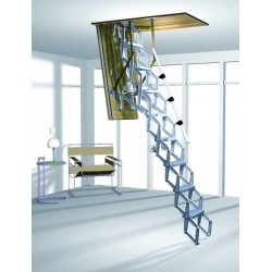 Алюминиевая раздвижная чердачная лестница  с дистанционным управлением ROTO Elektro 140x70