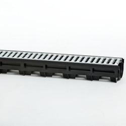 Дренажный канал HAURATON TOP Х желоб (1000х119х89), PE-PP (чёрный) с щелевой оцинкованной решеткой C