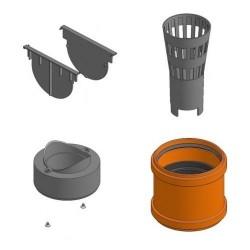 Полный комплект аксесуаров для линейного водоотвода HAURATON TOP: глухие заглушки (2 шт.), вертик. в
