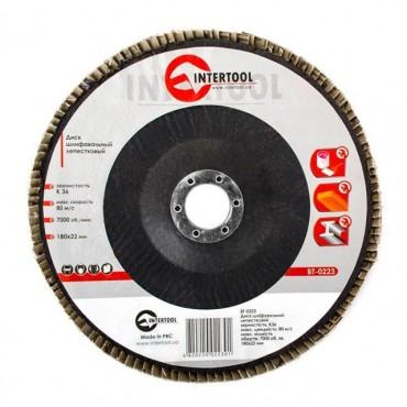 Диск шлифовальный лепестковый 180x22 мм, зерно K36 INTERTOOL BT-0223