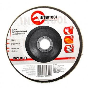 Диск шлифовальный лепестковый 180x22 мм, зерно K100 INTERTOOL BT-0230